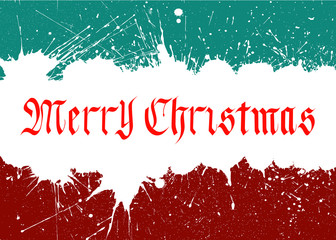 Vector Merry Christmas Lettering Over Background From Paint Blots.