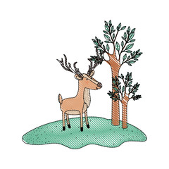 deer cartoon with long horns in forest next to the trees in colored crayon silhouette