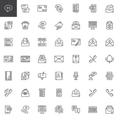 Contact and communication line icons set, outline vector symbol collection, linear style pictogram pack. Signs, logo illustration. Set includes icons as envelope, mailbox, contact book, chat, message
