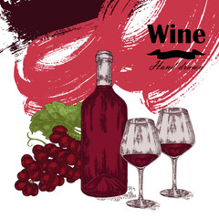 Wine bottle with two glasses and grapes. Vector illustration