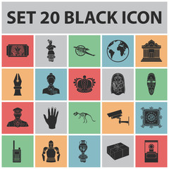 Museum and gallery black icons in set collection for design. Storage and exhibition of showpiece vector symbol stock web illustration.