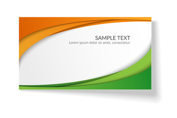 Card with abstract smooth wavy lines Orange and green stripes A bright creative element for the design of templates postcards advertisements posters Abstract decorative background for business Vector Wall mural