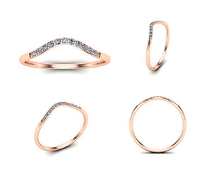 3D illustration gold rings of different angles. Jewelry background. Fashion accessory
