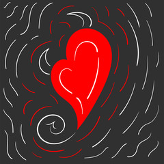 Hand drawn vector red devil heart with horns and tail on dark doodle background. Valentine's Day symbol.