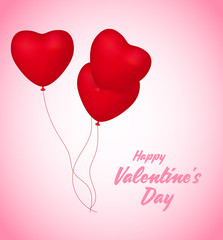 Happy Valentine's Day. Love valentine's background with hearts. Valentines day with red heart shape balloon flying and hearts decorations. Valentine's day abstract background.