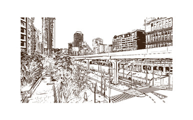 Tokyo, Japan. Hand drawn sketch in vector illustration. Vector illustration for a postcard or a poster. white background.