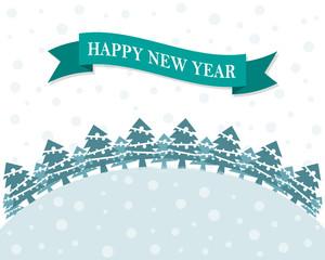 Festive flat New Year background. Vector illustration