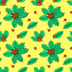Holly leaves and berries, hand drawn doodle sketch color illustration, seamless pattern design on yellow background