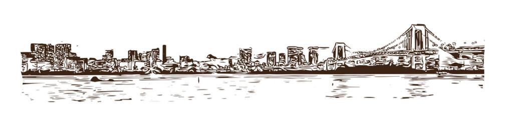 Tokyo Bay at Rainbow Bridge. Hand drawn sketch in vector illustration.
