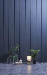 decorative home design blue wall concept interior
