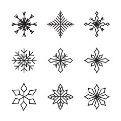 Set of hand drawn snowflakes. Delicate snow icon silhouettes. Vector illustration with editable strokes. Isolated on white background. Design elements for christmas, seasonal greetings, or any use.