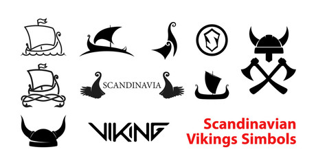 Flat Scandinavian History Emblems isolated on white background