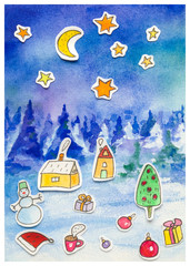 New Year greeting card watercolor