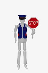 Sicherheitsbeauftragter mit einem Stop Schild.