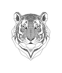 Tiger head isolated on white background., Wild Animal stylized portrait. Zentangle inspired tribal style. Black and white color. Coloring book page .