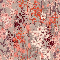 Cherry Blossom Vector Seamless Background
