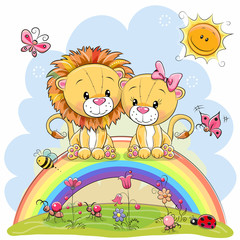 Two Lions are sitting on the rainbow