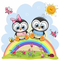 Two Penguins are sitting on the rainbow