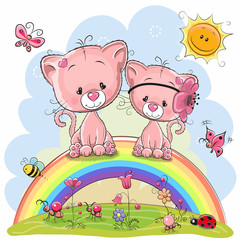 Two Pink Kittens are sitting on the rainbow
