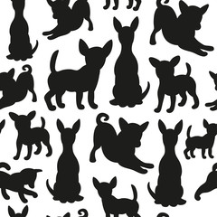 Seamless pattern with dog silhouettes
