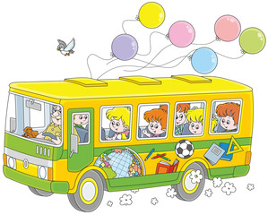 Little children riding a school bus with stickers and balloons