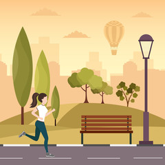 City autumn park vector background with sport woman running