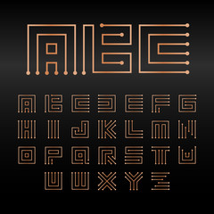 Digital vector alphabet, isolated abstract technology font. Microchip ABC logo set. Electronic circuitry signs collection.