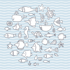 Maritime, vector set, fish in the waves. Vector illustration for your cute design.