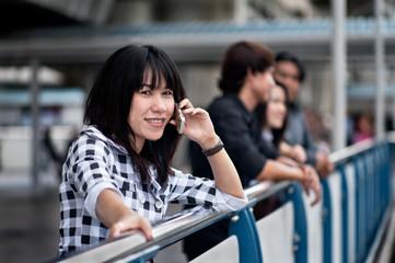 Asian Buness Woman Phone Call