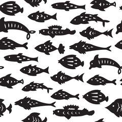 Seamless pattern with sea fishes. Endless texture for wallpaper, fill,  web page background, surface texture.