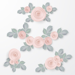 Floral Frame Collection. Set of pink rose flowers perfect for wedding invitations and birthday cards