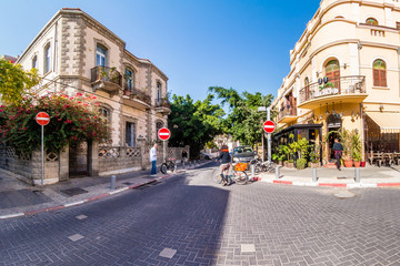 Street scene in Neve Zedek district in Tel Aviv, Israel.