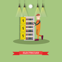Electrician concept vector illustration in flat style