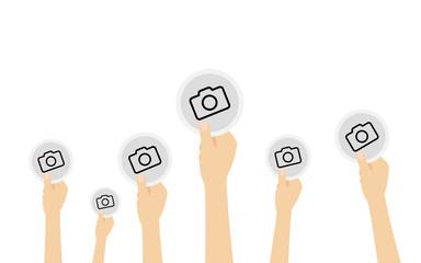 Hände halten Symbol - Fotokamera