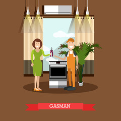 Gasman concept vector illustration in flat style