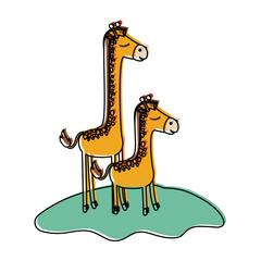 cartoon giraffe mom with calf over grass in watercolor silhouette