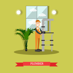 Plumber concept vector illustration in flat style