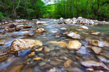 Transparent cold water of a mountain river flows between picturesque summer stones against a background of green trees close up. Forest landscape in the vicinity of Sochi, Russia.