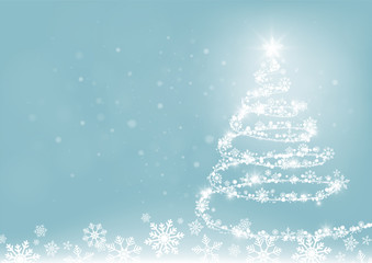 Merry Christmas and Happy new year. Abstract snowflakes blur bokeh of light on background. Vector illustration