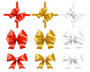 Set of red, gold and white bows. Vector illustration.