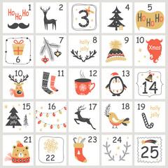 Fototapeta Christmas Advent calendar with hand drawn elements. Xmas Poster. Vector illustration obraz