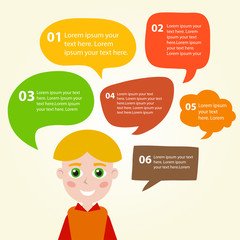 Person icon with colorful dialog speech bubbles. Vector illustration for your cute design.