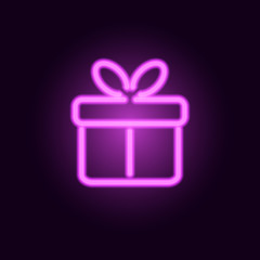 Pink neon gift box. Vector realistic neon sign