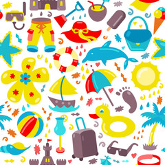 Vector beach pattern for summer. Can be used for textile, website background, book cover, packaging.