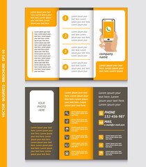 Business brochure template with hand holding a smart phone, icons, vector design.