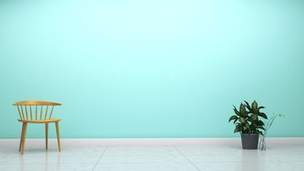 Green mint wall on empty white floor interior. 3d rendering