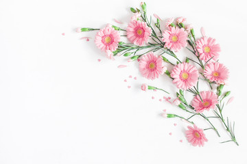 Flowers composition. Frame made of pink flowers on white background. Valentine's Day background. Flat lay, top view, copy space