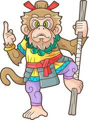 cartoon, funny monkey king, cute illustration