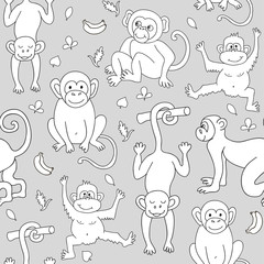 Seamless pattern with monkeys, bananas and leaves. Can be used for textile, website background, book cover, packaging.