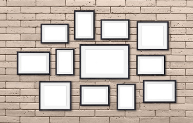 Photo frames collage, twelve set collection on bricks wall, interior decor mockup, gallery style. 3D illustration